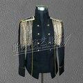 Моды для мужчин костюм производительность тонкий панк кисточкой epaulet куртка певец DJ сценическое шоу ночной клуб партия показать одежда