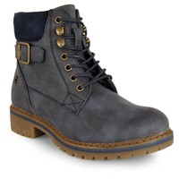 Refresh Women Ankle Boot lacing Buckle Navy