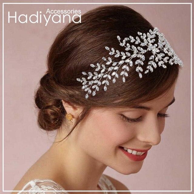 Hadiyana DE CORONA DE NOVIA Tiaras de la boda con circón mujeres pelo accesorios de la joyería de pelo suave lujo broches BC4702