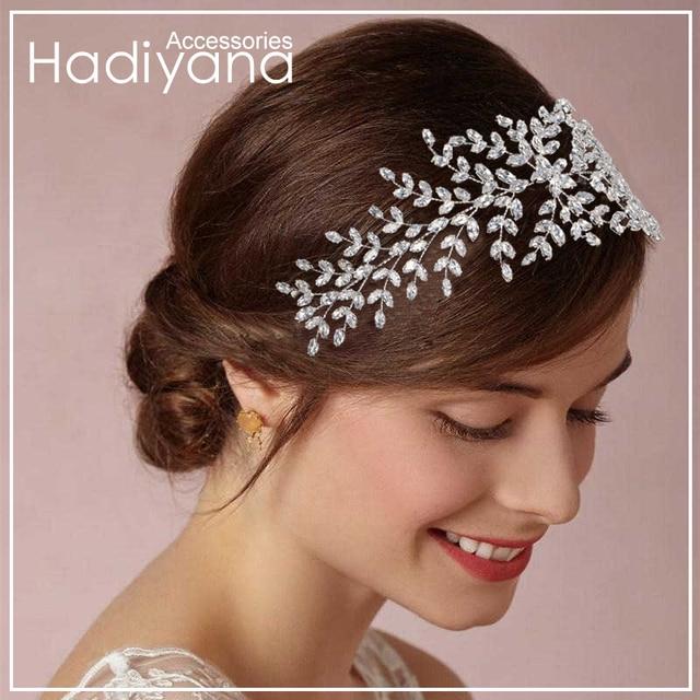 Hadiyana corona de novia a la moda Tiaras de boda con circonita accesorios para el cabello para mujer tocado de joyería de lujo suave Barrettes BC4702