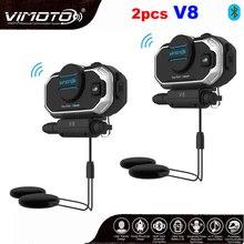 אנגלית 850mAh 2PCS Vimoto V8 קסדת Bluetooth אינטרקום אופנוע סטריאו BT אוזניות אוזניות עבור טלפון נייד GPS 2 מכשירי רדיו דרך