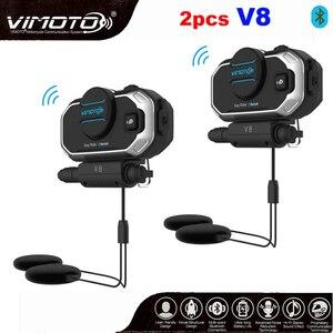 Image 1 - English 850mAh 2PCS Vimoto V8 Helmet Bluetooth Intercom Motorbike Stereo BT Headset Headphones For Mobile Phone GPS 2 Way Radios