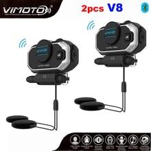 Inglês 850mah 2 pçs vimoto v8 capacete bluetooth interfone moto bt fone de ouvido estéreo para o telefone móvel gps 2 vias rádios