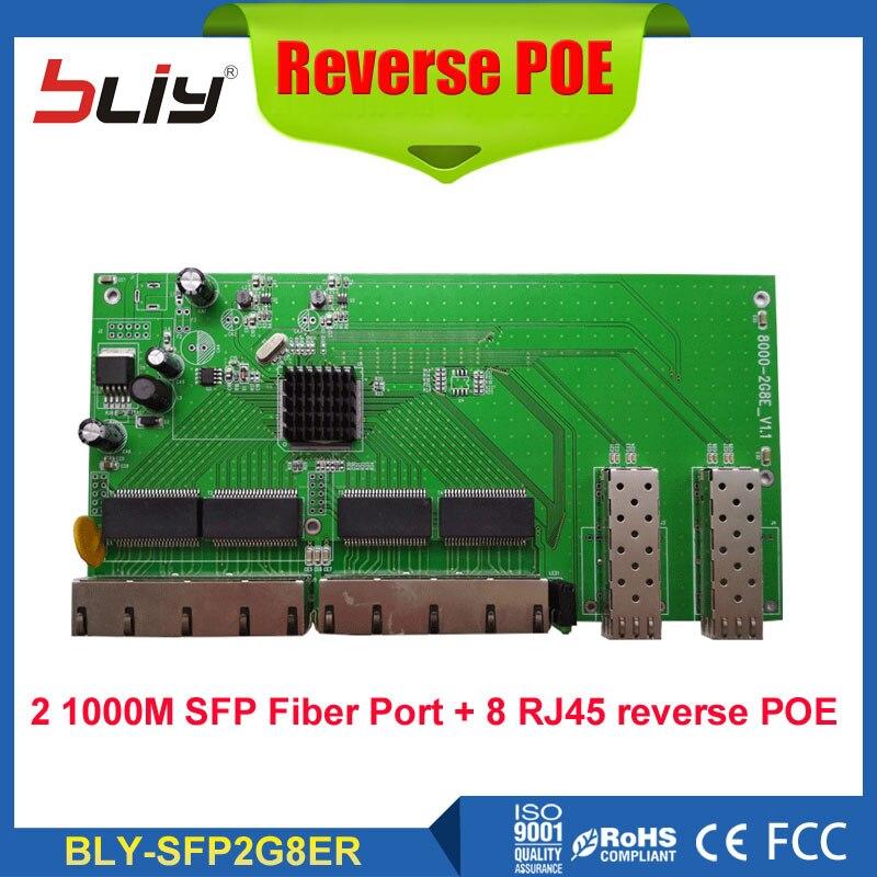 Carte de commutation à fibre optique Reverso POE avec 2 ports Ethernet RJ45 SFP + 8 10/100/1000 Mbps convertisseur de média inverse POE