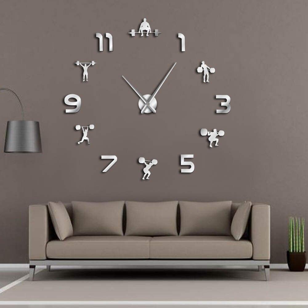 Gewichtheben Fitness Zimmer Wand Dekor DIY Riesen Wanduhr Spiegel Wirkung Powerlifting Rahmenlose Große Wanduhr GYM Wand Uhr