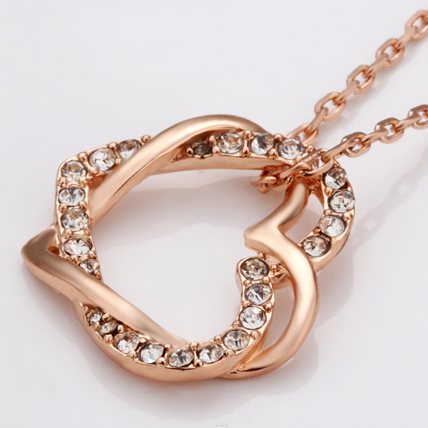 Rose gold color silver color rhinestone crystal double heart rose gold color silver color rhinestone crystal double heart pendant necklace fashion jewelry wedding gift for women in pendant necklaces from jewelry mozeypictures Image collections