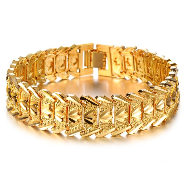 Men S Bracelets Whole Trade Of Jewelry Wrist Chain Electroplating 18 Karat Gold Bracelet For Bangles