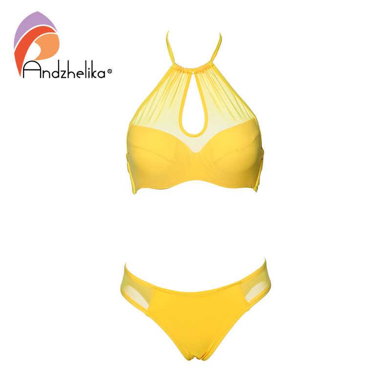 Andzhelika مثير الصلبة شبكة البيكينيات 2019 النساء ملابس السباحة دفع ما يصل مجموعة البكيني حمالة ثوب السباحة ملابس السباحة الإناث بيكيني AK1902