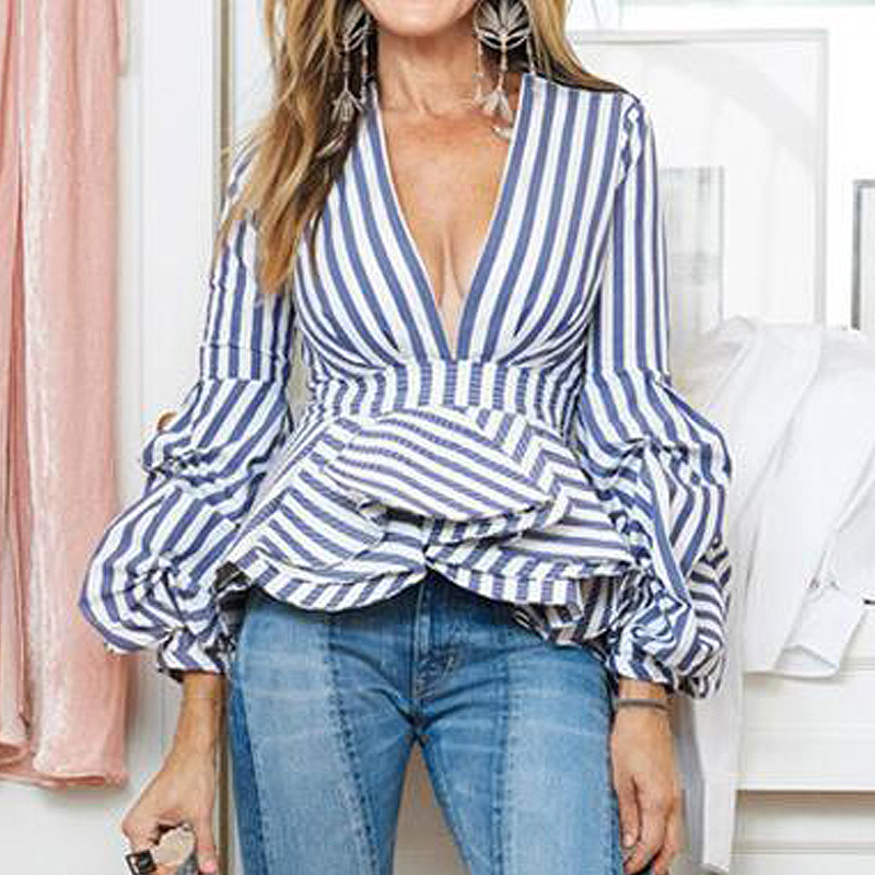 New Fashion Runway 2017 Designer Blouse Tops Women's Puffle Sleeve Sexy Deep V-Neck Striped Ruffle Blouse Shirt Plus Size S-5XL