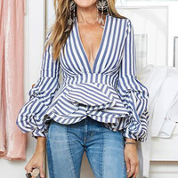 New Fashion Runway 2017 Designer Blouse Tops Women's Puffle Sleeve Sexy Deep V Neck Striped Ruffle Blouse Shirt Plus Size S 5XL