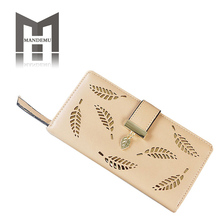 Wallet PU Leather Purse Female Long Wallet Gold Hollow Leaves Pouch Handbag For Women Coin Purse Card Holders Lady Clutch Bags new long wallet coin purse women fashion artificial leather wallet female casual purse zipper clutch purse lady long handbag bag