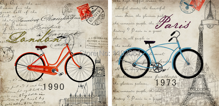 Bicycles Pictures Posters Imagich Frameless Canvas Paintings Vintage Style Decorative Art Bicyles Red And Blue Paris In Wall Stickers From Home Garden On