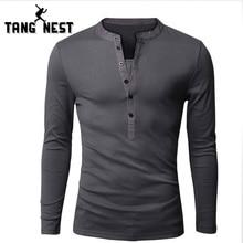 TANGNEST 2018 Casual Long-sleeved T-shirt New Spring Slim Men T-shirt Hot Sale Fashion Men T shirt 6 Solid Colors MTL823