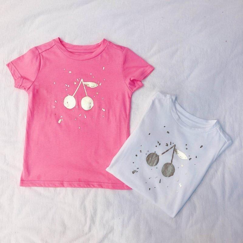Enkelibb T-Shirts Tops Print Girls Baby White/pink High-Quality Children Summer Cotton
