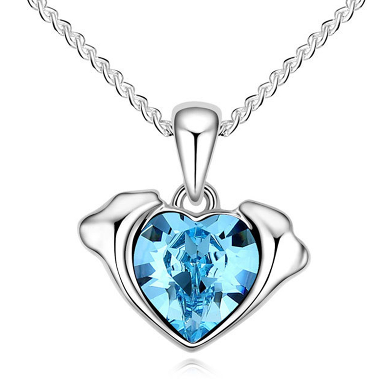 2015 Hot Twelve Constellations Pisces Pendant Necklaces With Genuine Austrian Suspension Crystal For Woman Girls