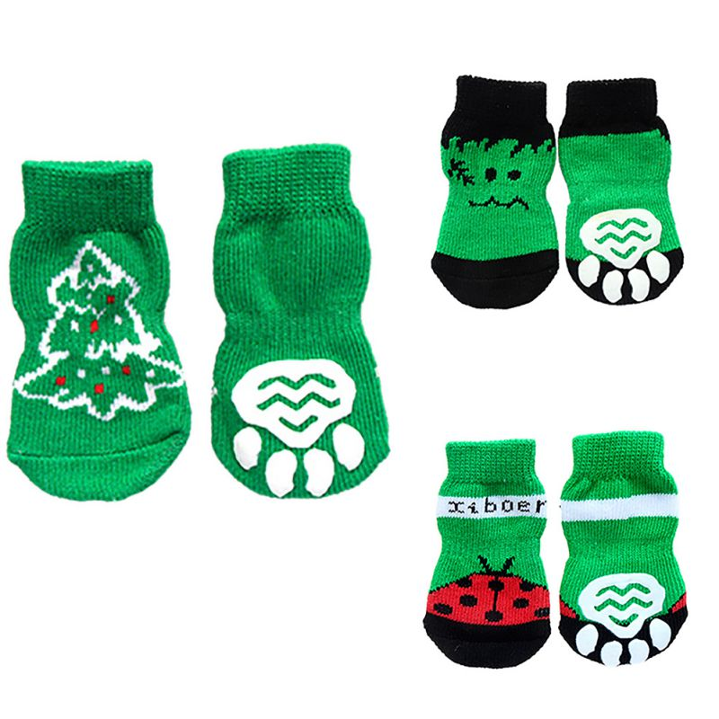 Hot Sales 7 Styles 4pcs Pet Dog Knit Socks Pattern Printed Non-slip Cotton Socks Paws Cover Warm Shoes S M L XL