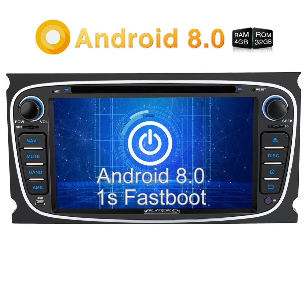 Pumpkin 2 Din Android 8.0 Car DVD Player GPS Navigation Bluetooth Car Stereo For Ford Mondeo/Focus FM Rds Radio Wifi 4G Headunit