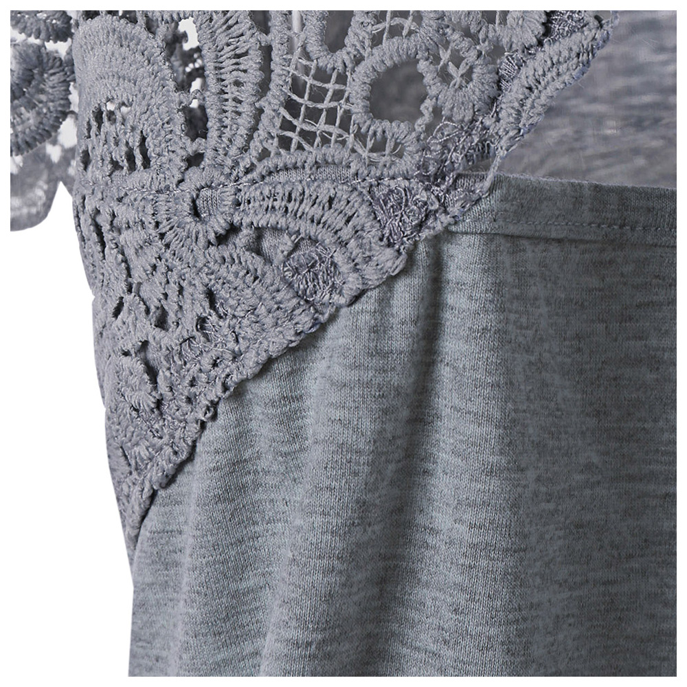 Ladies Lace Hollow Out Patchwork Trim T Shirts Women Summer Cut Out V Neck Cutwork Tees Short Sleeve Sexy Back Hol