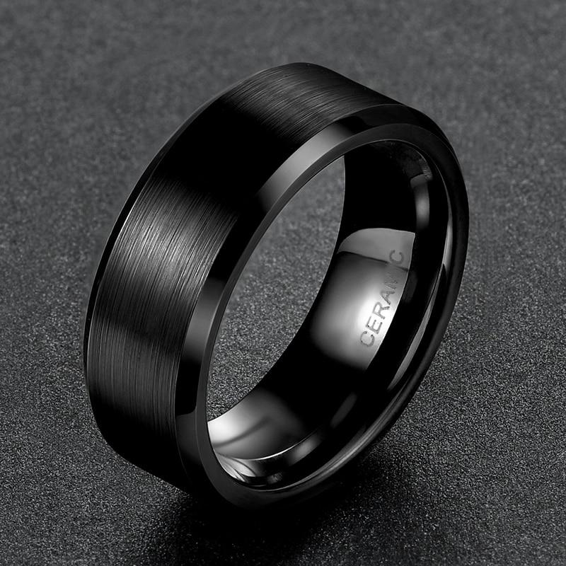 Black Ceramic Flat 6mm Brushed Band Ring