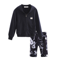 Cutestyles Baby Kids New Clothing Set With Boys Black Hooded Coat Flower Printing Pants Little Prince Clothes Set CS90324-27L