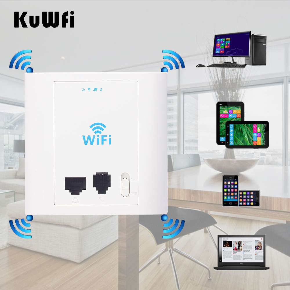US Shipping 300Mbps In Wall Wireless Router Access Point 2.4Ghz Wifi Repeater Wifi Extender AP Router With Phone Port&RJ45