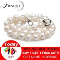 Настоящая пресноводная жемчужина ожерелья женские свадебные, белый чокер натуральный жемчуг ожерелье 925 серебряные ювелирные изделия Боль...