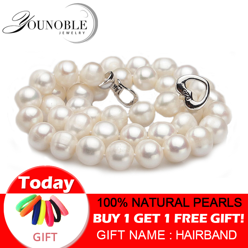 Real Freshwater pearl necklaces women wedding white choker natural pearl necklace 925 silver jewelry big best Innrech Market.com