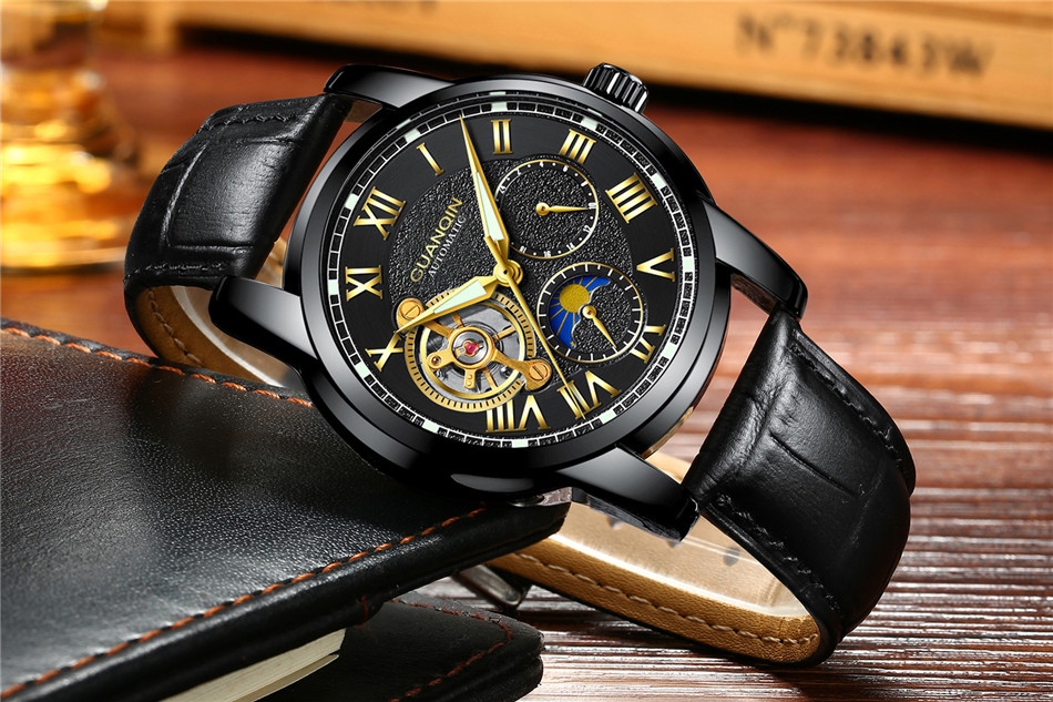 GUANQIN Top Brand Watches Mens Water Resistant Luminous Automatic Watch Skeleton Tourbillon Mechanical Wristwatches Black Clock (5)