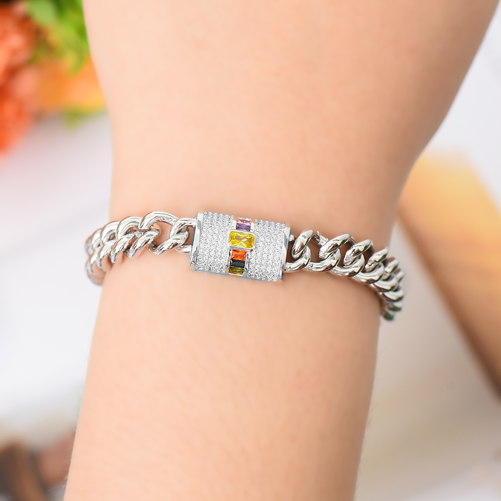 Siscathy Trendy Punk Unisex Bracelets Stackable Cubic Zirconia Luxury Wide Chain Bracelets Bangles Fashion Jewelry Finding 2019 in Bangles from Jewelry Accessories