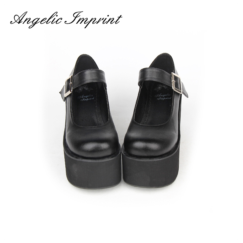 Japanese Lolita Cosplay Spring Autumn Mary Jane Buckle Strap Thick Platform Wedge Pumps Shoes