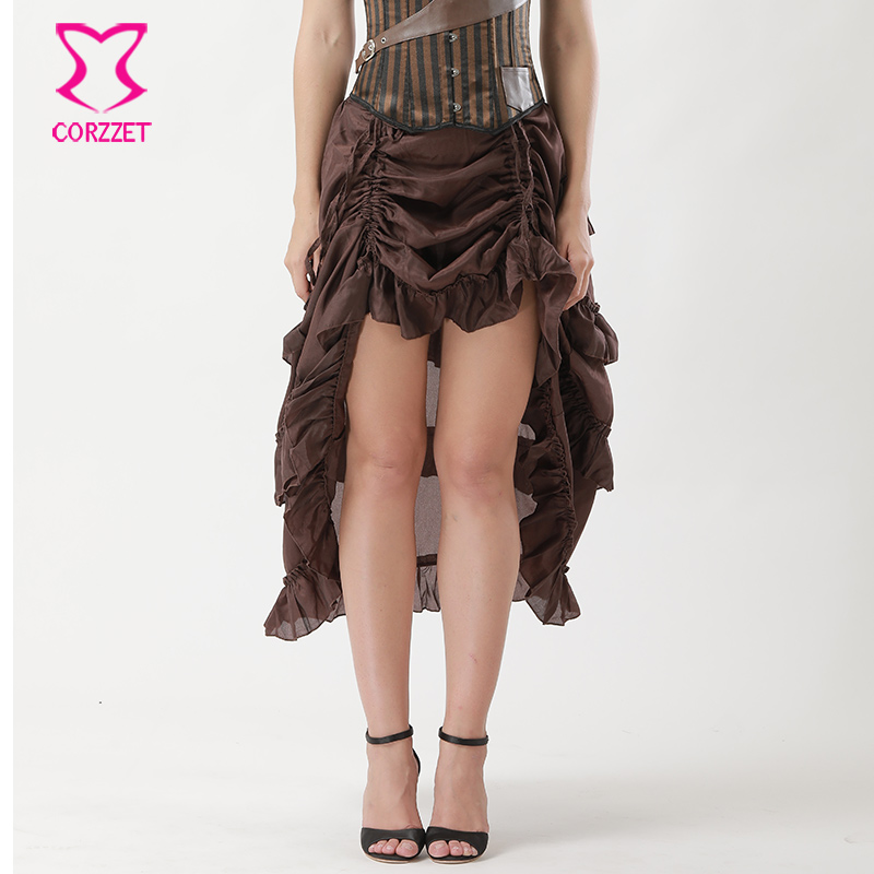 S-6XL Vintage Steampunk Skirt Brown Chiffon Ruffles Gothic Victorian Skirt Plus Size Adjustable Front Length Skirts For Women