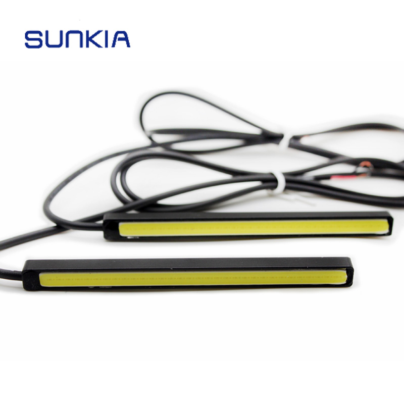 2 Pcs / Pair SUNKIA 10 CM 100% Tahan Air COB DRL Daytime Running Light Mobil LED Lampu Super Terang Untuk Suzuki Mazda VW Ford Toyota
