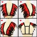 Fetish fantasy couture encaje Multicolor de plumas charreteras arnés elástico rave jaula pluma de la correa del sujetador bra top UNISEX