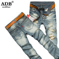 Aodibao 2016 Autumn Winter Ripped Hole Classic Blue Biker Distressed Jeans Men Zipper Fly 28-40# Designer Brand Italian Couture