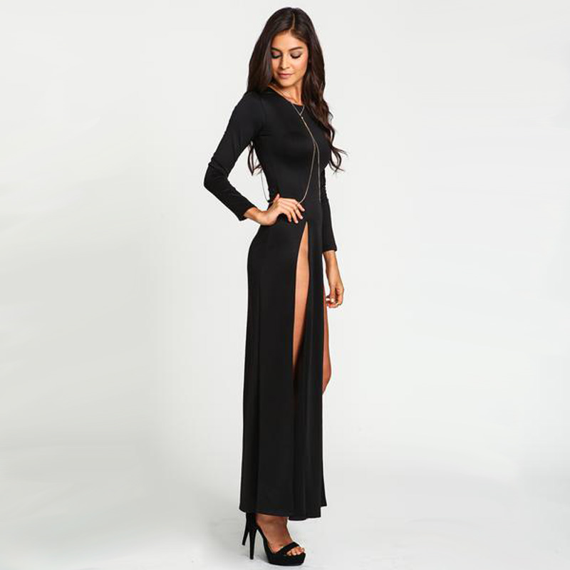 Ciudad 2017 mujeres dress atractivo del club de alta dividir dress de manga larga negro doble rajó delgado partido maxi dress fashion dress nc-465