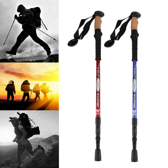 1pc Ultra-light Adjustable Telescopic Aluminum Alloy Hiking Walking Stick Trekking Pole Alpenstock 3 Section Silver new arrival