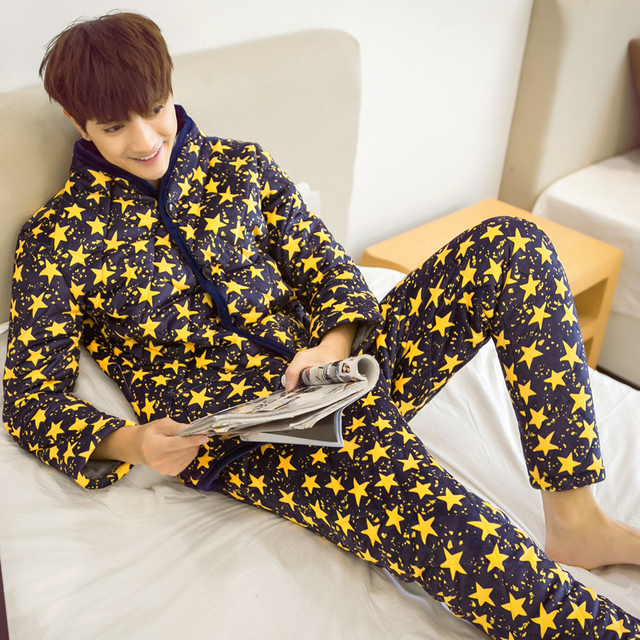 Pajamas men long sleeve men's big yards household to take men's suits