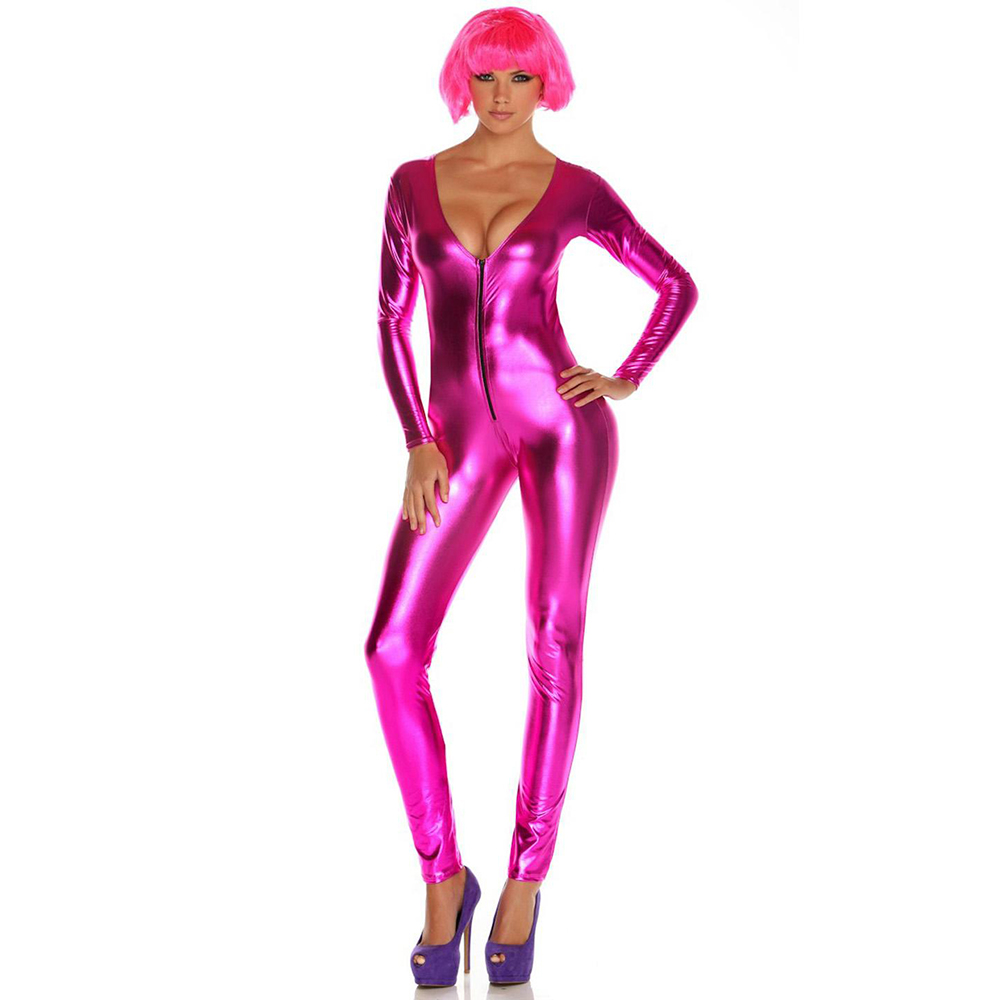 f5daa6340bdf Metallic Zip Front Fuchsia Women Bodysuit Sexy Wetlook Vinyl Leather  Rompers Womens Jumpsuit Skinny Clubwear One
