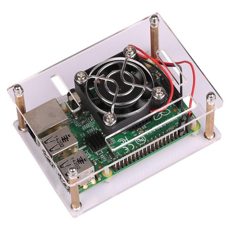 Acrylique Clear Case Boîtier Transparent Shell Couverture Avec Refroidisseur Ventilateur De Refroidissement pour Raspberry Pi 3 Modèle B/2 Modèle B/B +