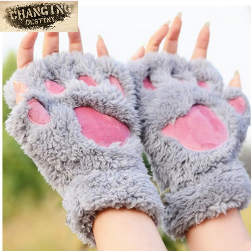 2018 Winter Lovely Women Bear Cat Claw Paw Mitten Plush Gloves Short Finger Half Gloves Ladies Half Cover Female Gloves