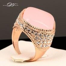 Роскошные Большие кольца на палец с розовым опалом цвета розового золота, модный бренд, кубический цирконий, ювелирные изделия для панков/ювелирные изделия для женщин DFR086