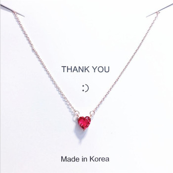 2020 Red heart-shaped boudoir honey necklace clavicle chain personality delicate simple small pendant ornaments female necklace image