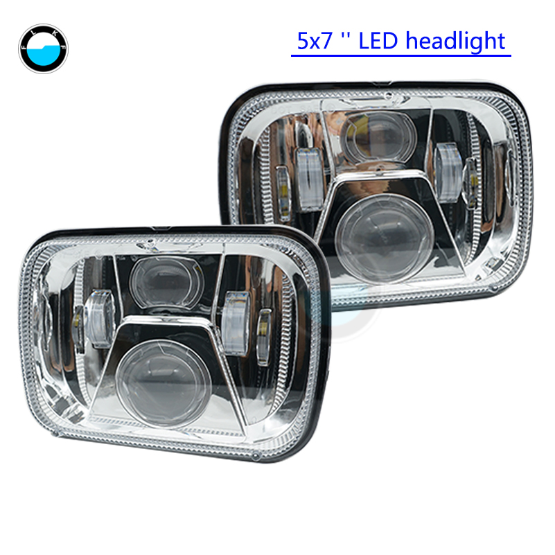 Pair 5x7 led headlight Rectangular 6x7 inch 55W High/ Low H4 led Driving lights for Tacoma pickup Dodge Ram Ford F250 E350.