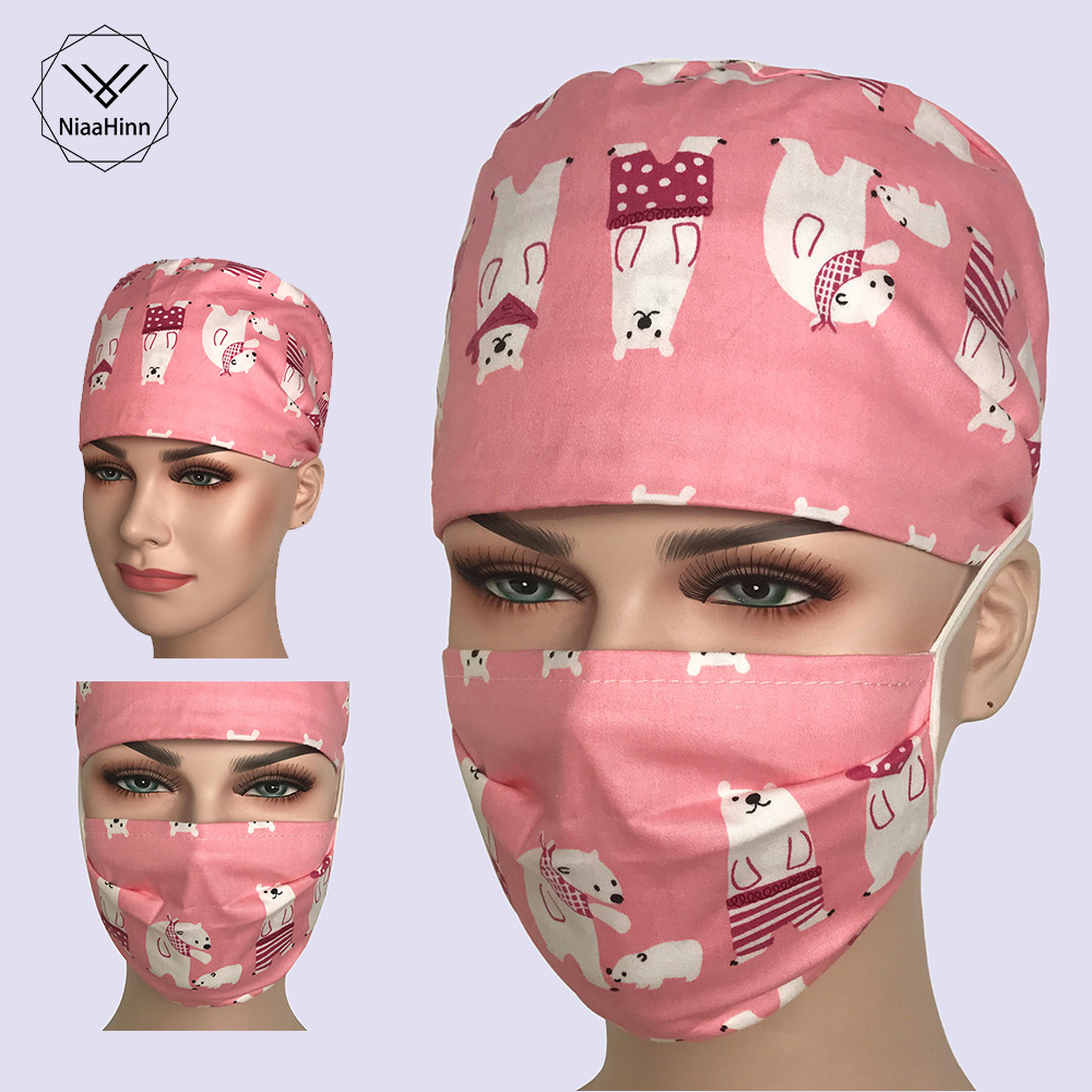 Medical Caps Pink Cartoon Print Short/Long Hair Surgical Surgeon's Surgery Hat Hospital Doctor Nurse Hat Men Scrub Hat With Mask