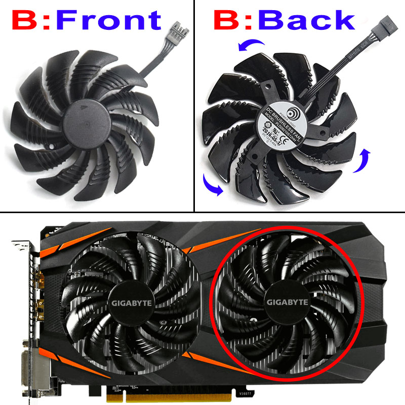 Image 4 - New 87MM PLD09210S12HH 0.40A 4Pin Cooling Fan For Gigabyte GeForce REDEON AORUS RX580/570 GIGABYTE GV RX5 Video Card Cooler Fans-in Fans & Cooling from Computer & Office
