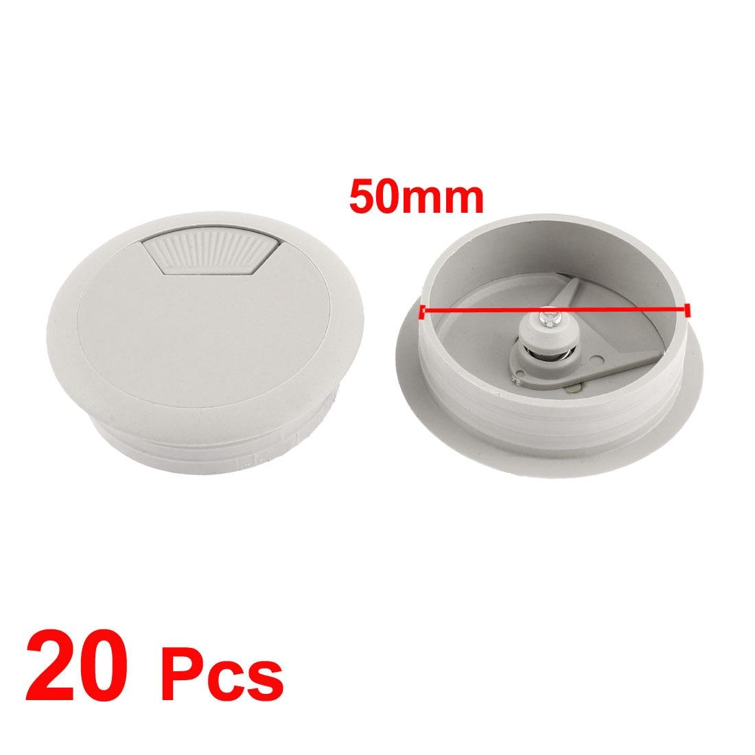 Computer PC Desk Plastic Round Grommet Wire Cable Hole Cover Gray 50mm Dia 20pcs