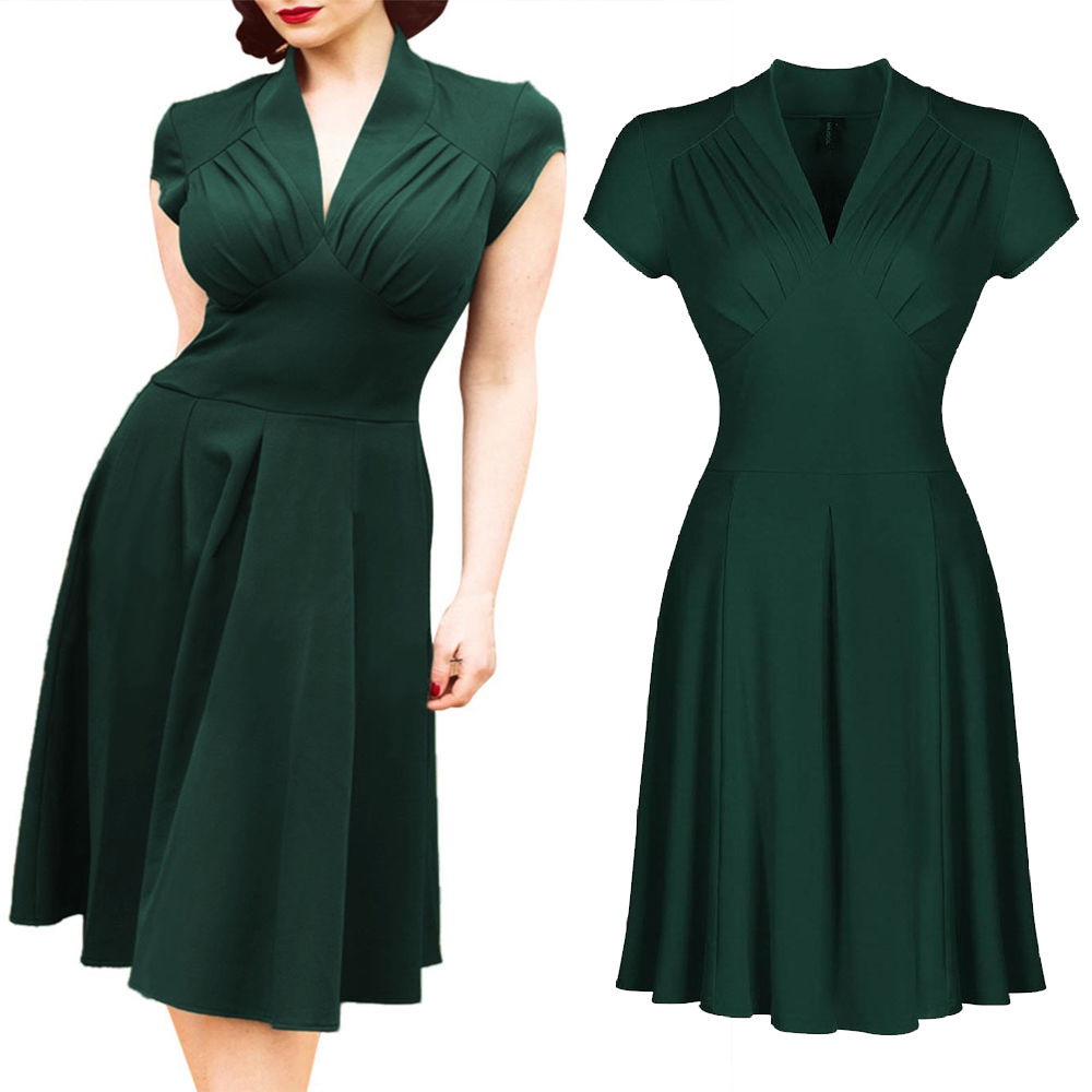 2016 Summer Dress Women Elegant Dresses Solid Green Office Dresses Short Sleeve Prom Gown Vestidos Ladies Dresses women clothes