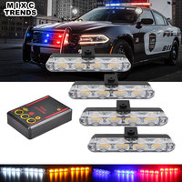 MIXCTRENDS 12V Waterproof 4x4 LED Super Bright 16W Car Front Rear Tail Flasher Warning Strobe Police