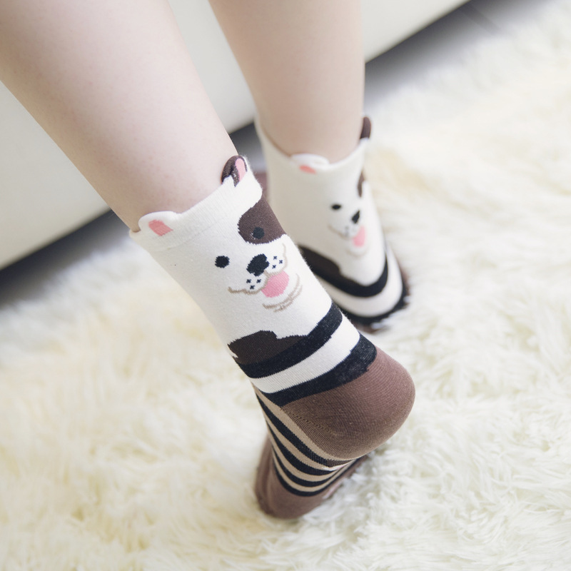 1 Pair Winter Autumn Warm Unisex Men Women Lady 3D Printed Cartoon Animal Print dog Ankle-High Socks short socks
