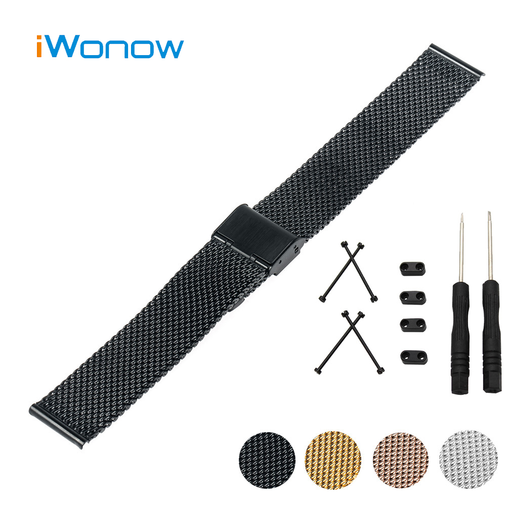 Milanese Stainless Steel Watch Band 24mm + Lug Adapter + Tool for Suunto Core Hook Buckle Strap Wrist Belt Bracelet Black Silver stainless steel watch band 24mm for suunto core safety clasp strap loop wrist belt bracelet black rose gold silver tool